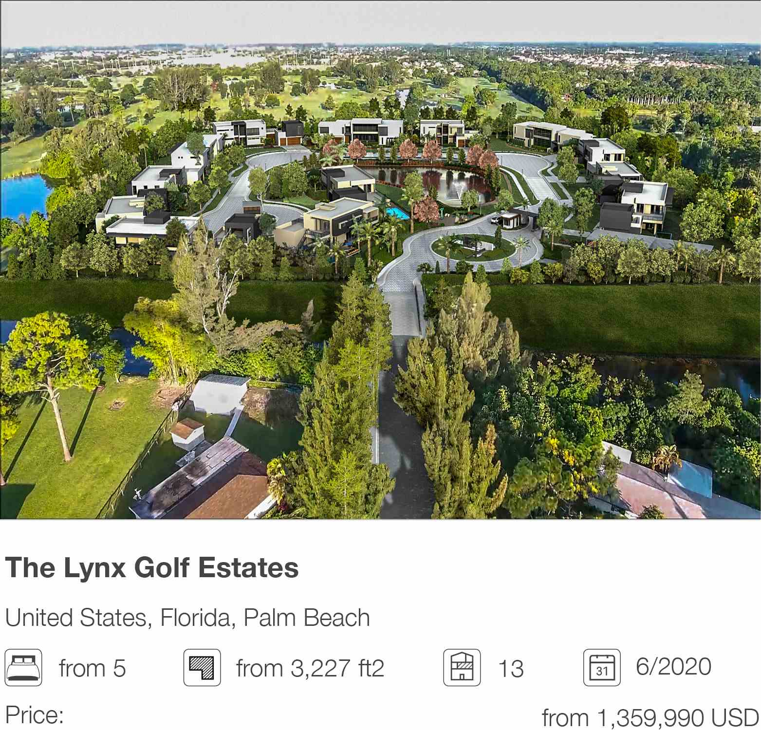 The Lynx Golf Estates development in Palm Beach, Florida, USA