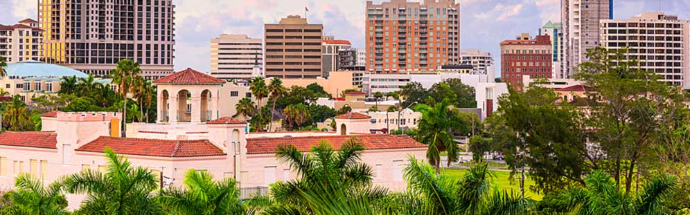 View of tall metropolitan buildings in Sarasota, Florida