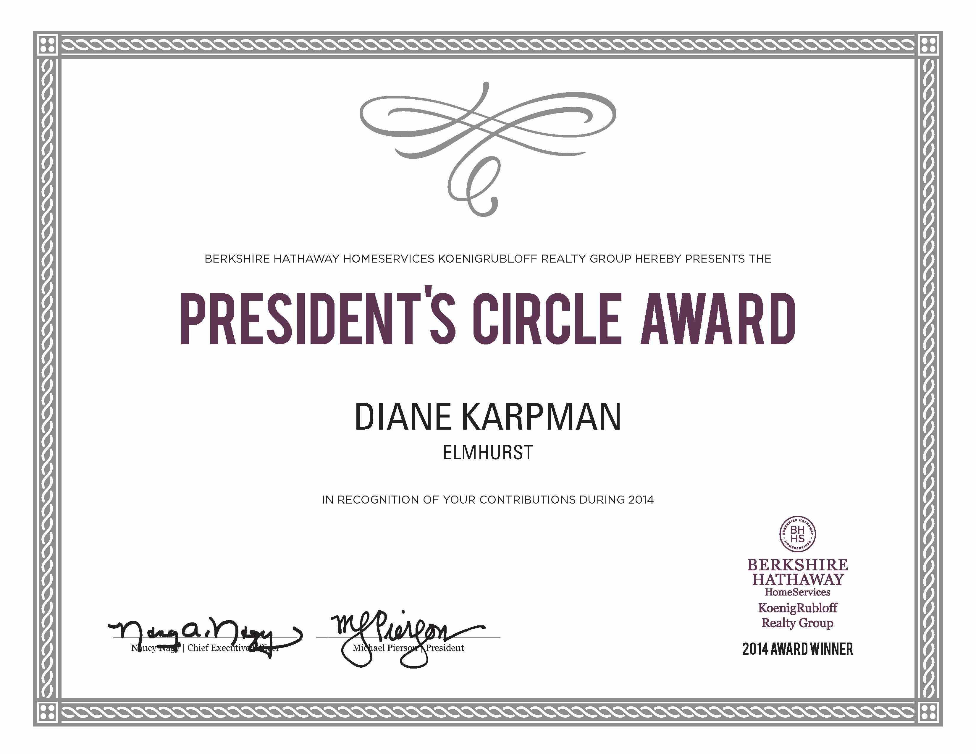 2014 PresidentsCircle-Certificate Diane M Karpman.jpg