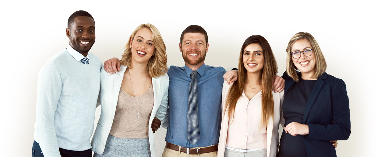 group of real estate agents standing and smiling