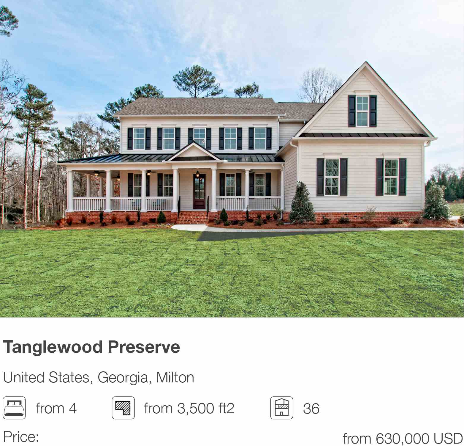 Tanglewood Preserve development in Milton, Georgia, USA