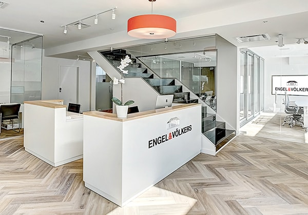 Interior of Engel & Völkers office with reception desk