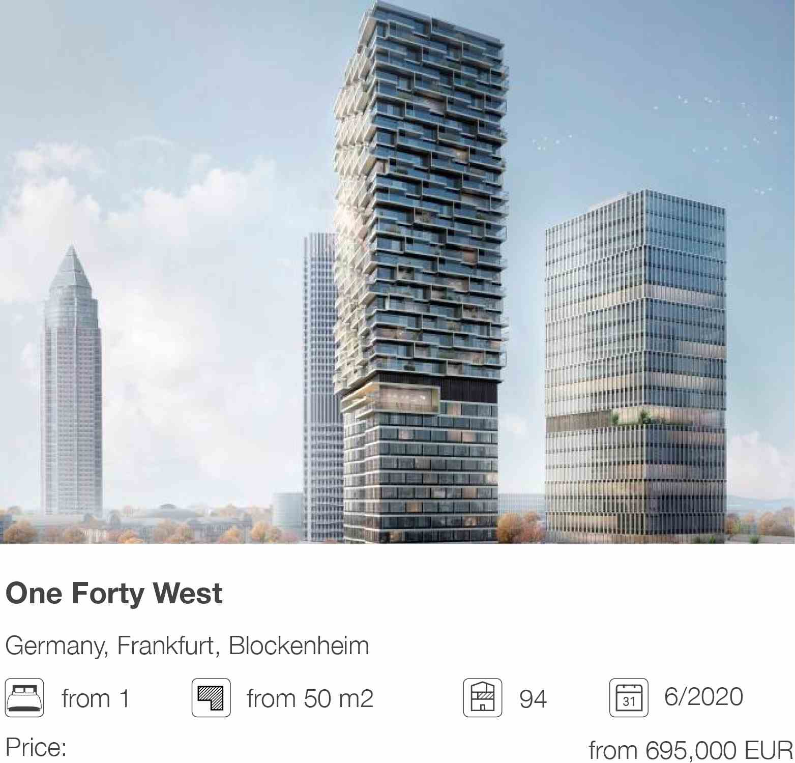 One Forty West development in Blockenheim, Frankfurt, Germany