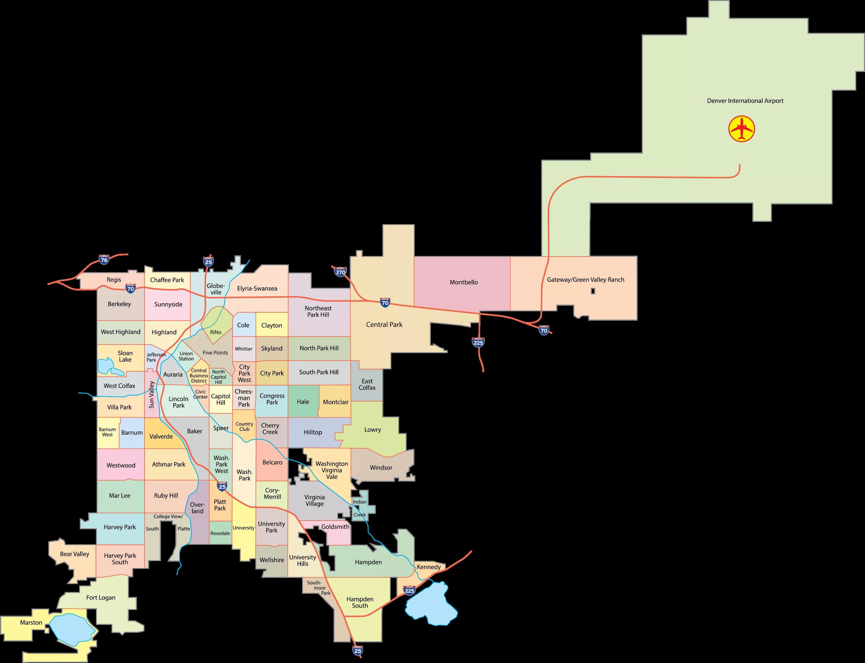 Map of Denver, CO neighborhoods.