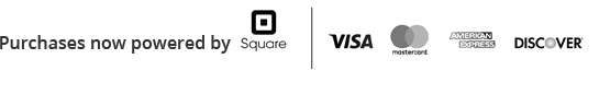 Purchases powered by Square | We accept Visa, Mastercard, American Express and Discover