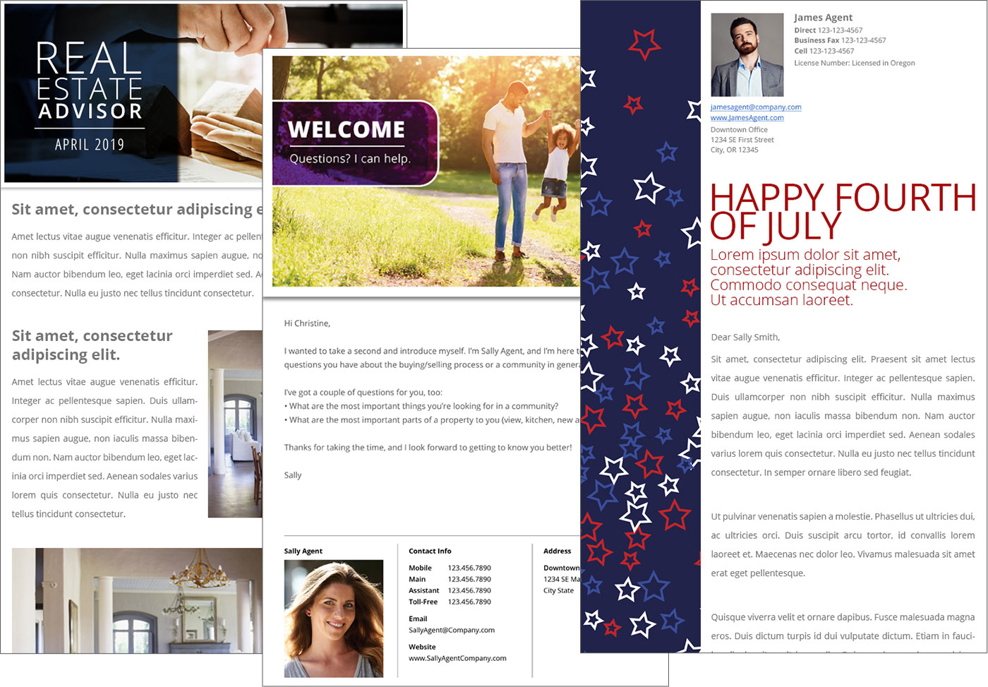3 examples of email designs