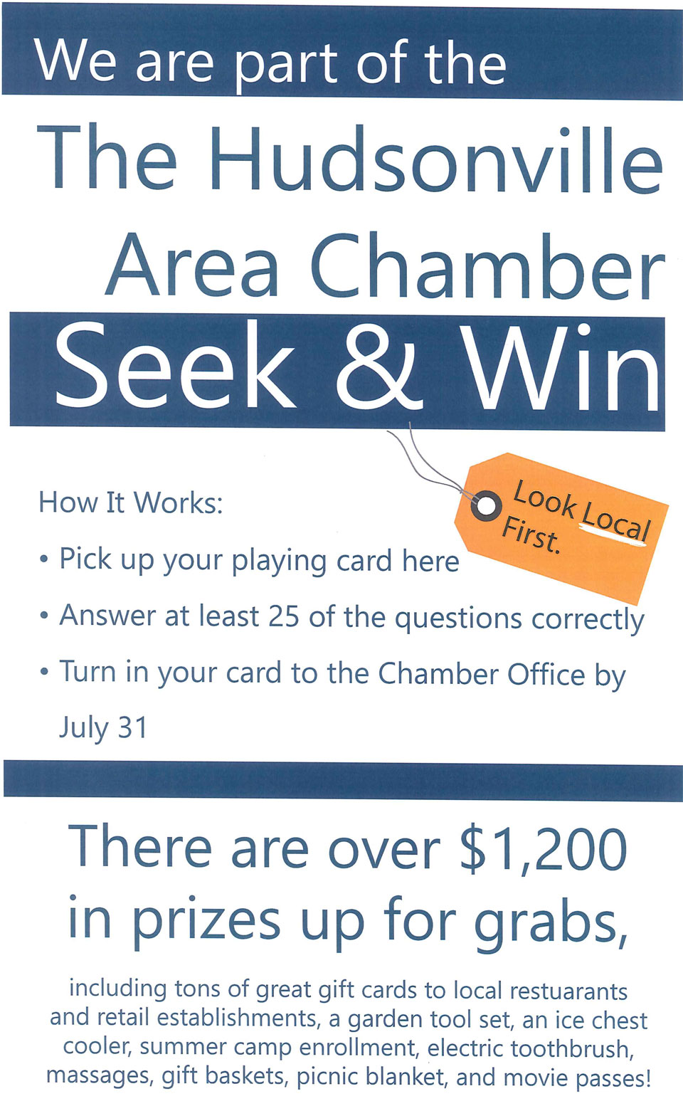 The Hudsonville Area Chamber Seek and Win