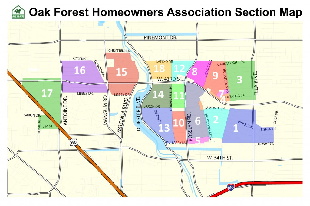 Oak Forest Map of Sections