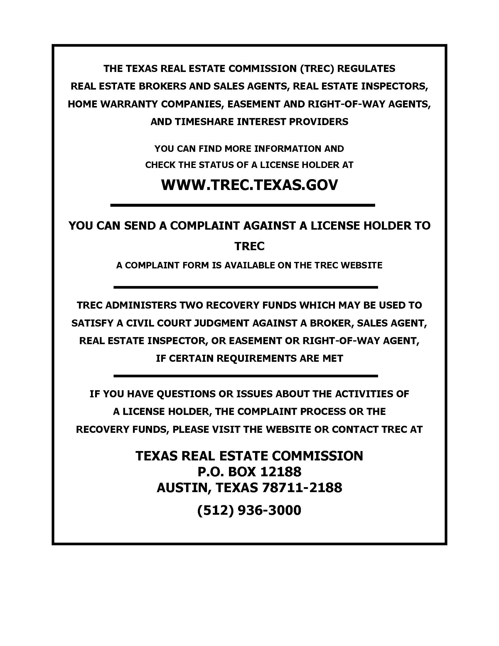 Texas Real Estate Commission Consumer Notice