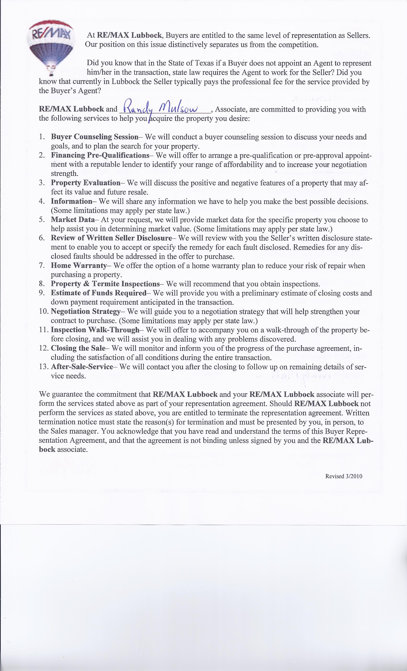 Buyer Representation Agreement P2