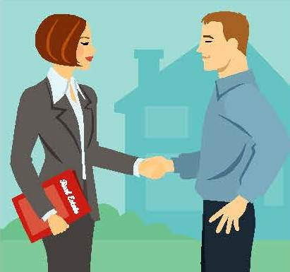 Graphic of a real estate agent shaking a man's hand with a home in the background