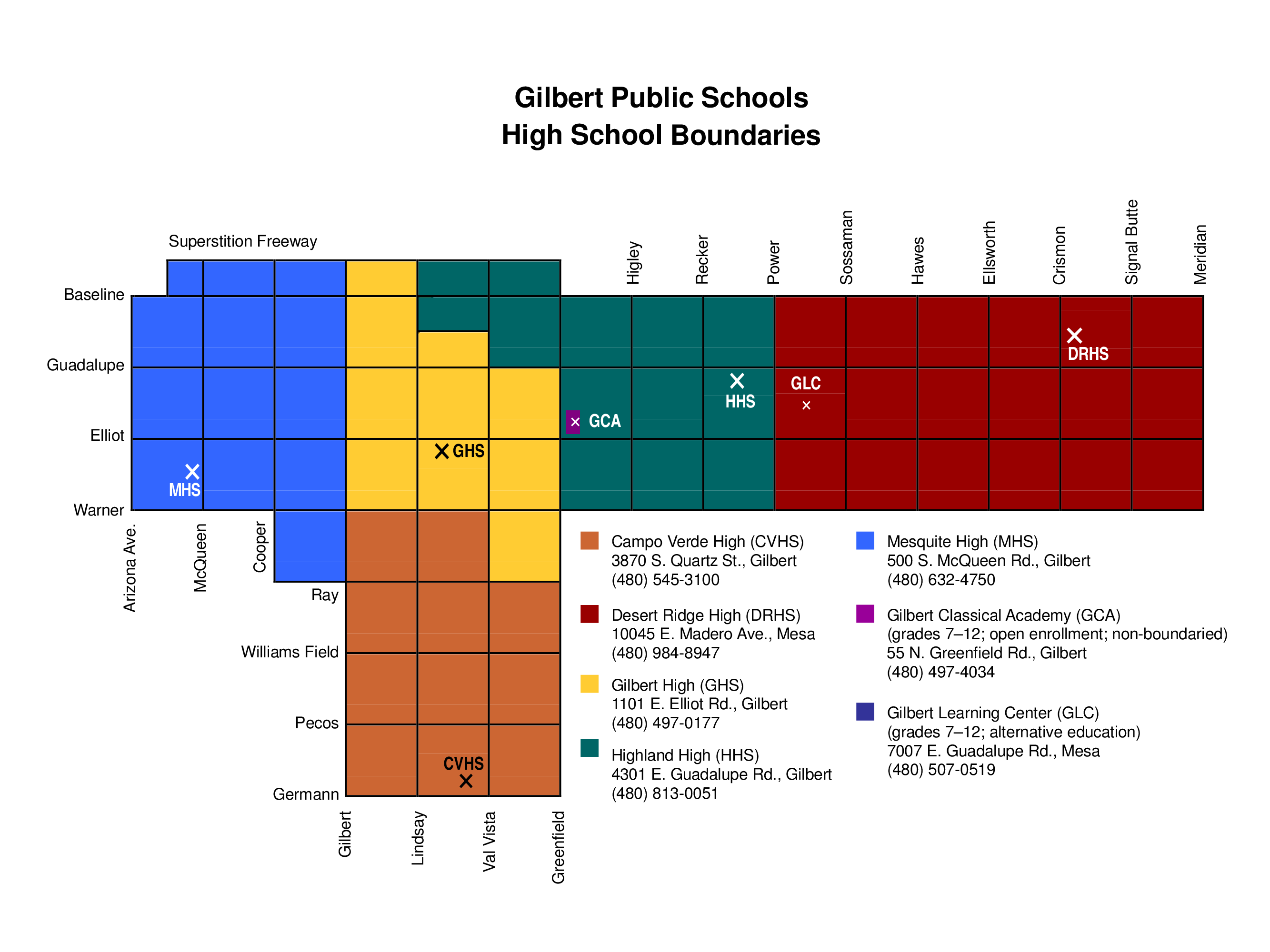 Gilbert High School District Boundary Map 2016-17