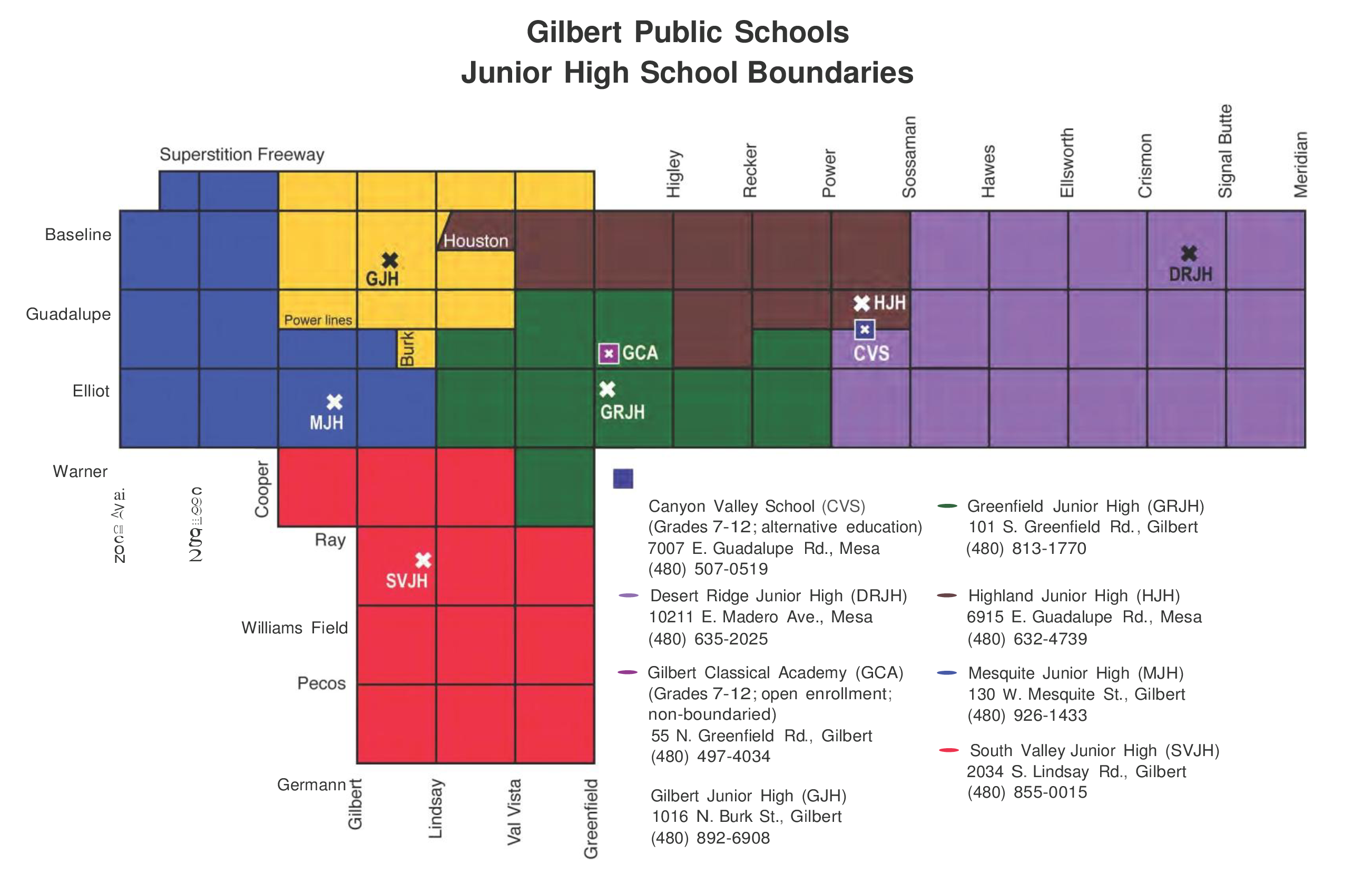 Gilbert Jr. High School District Boundary Map 2016-17