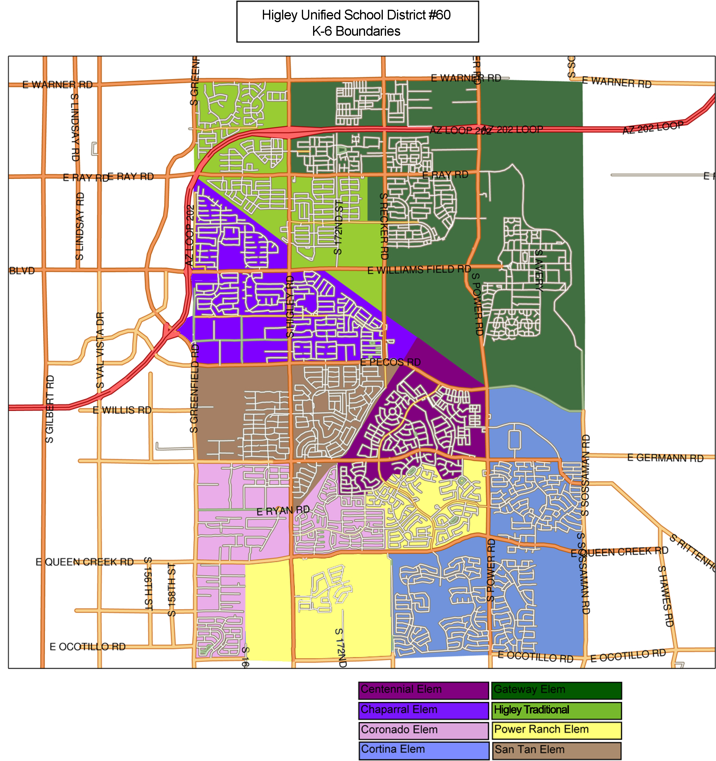 Higley Elementary School Boundary Map 2014-15