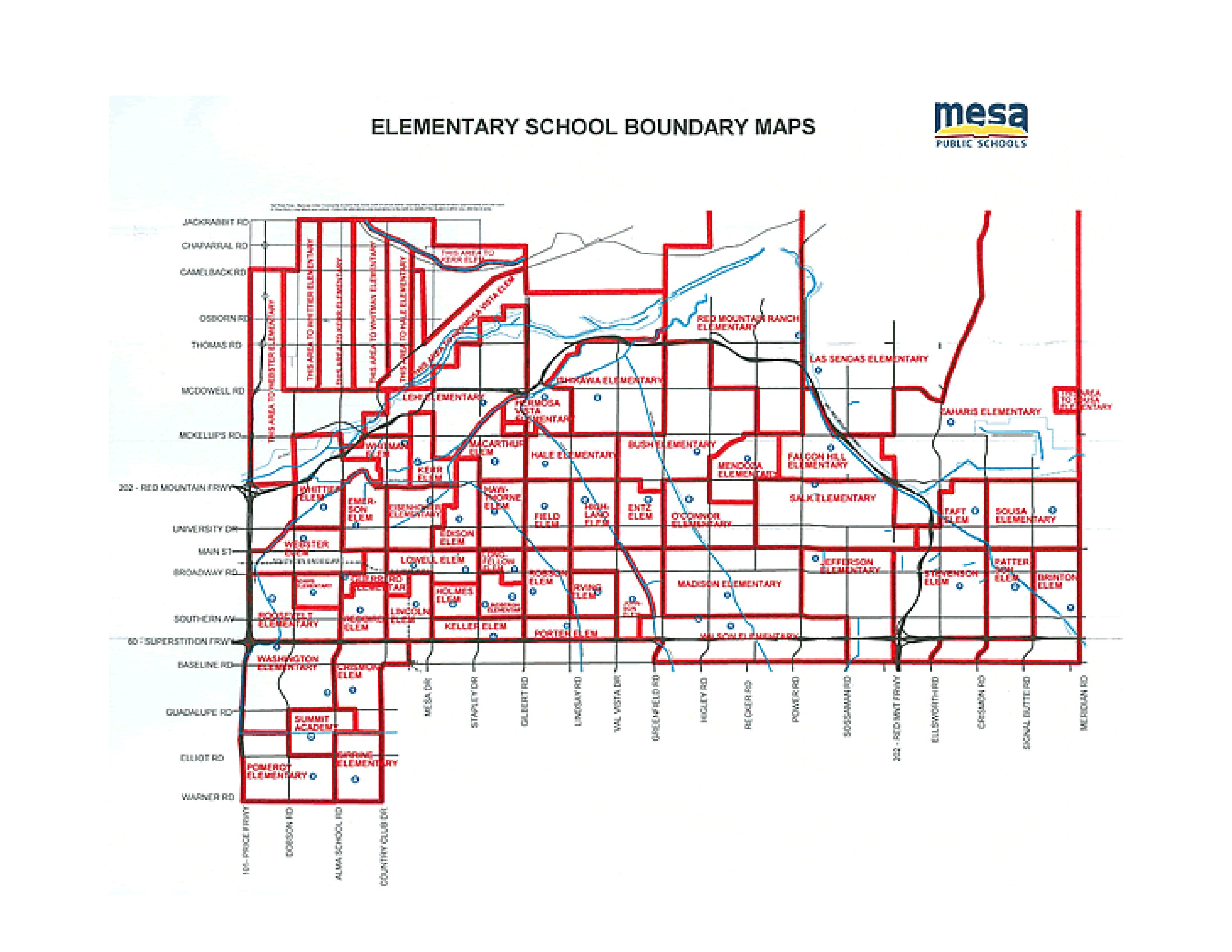 Mesa AZ Elementary School Boundary Map 2014-15