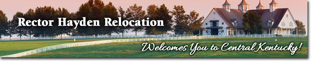 Header image of a farm at sunset with the words Rector Hayden Relocation - Welcomes You to Central Kentucky!