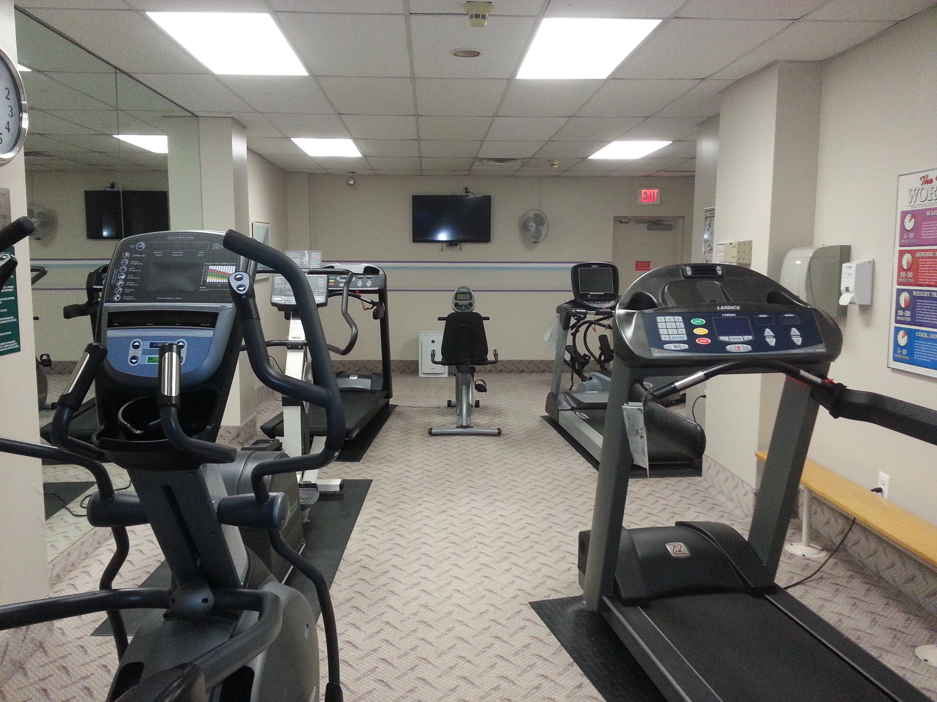 There is also a cardio room with treadmills, stationary bikes and wall mounted televisions.
