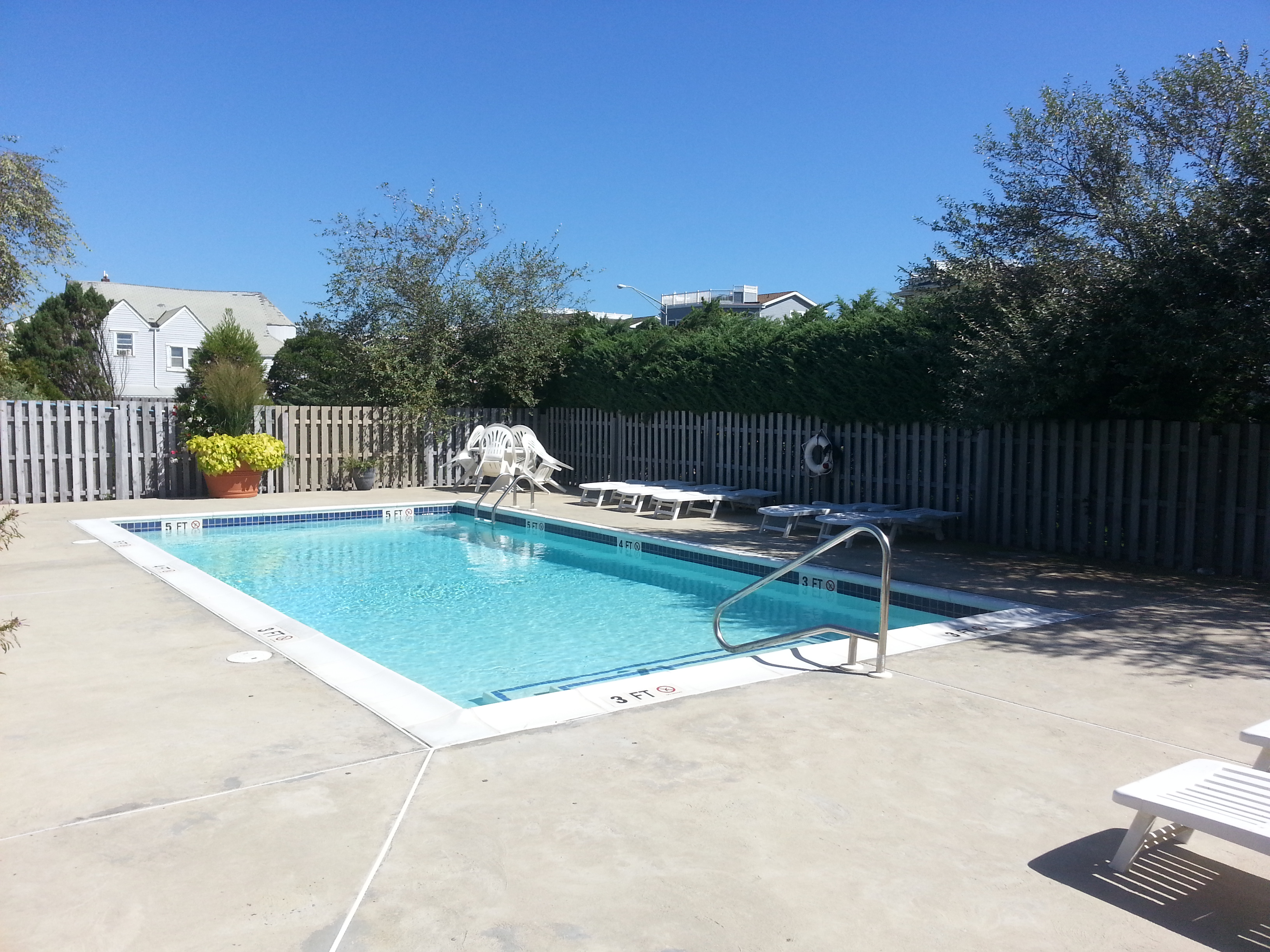 Among the amenities in Chris' Landing is this pool which is fenced and landscaped for privacy.