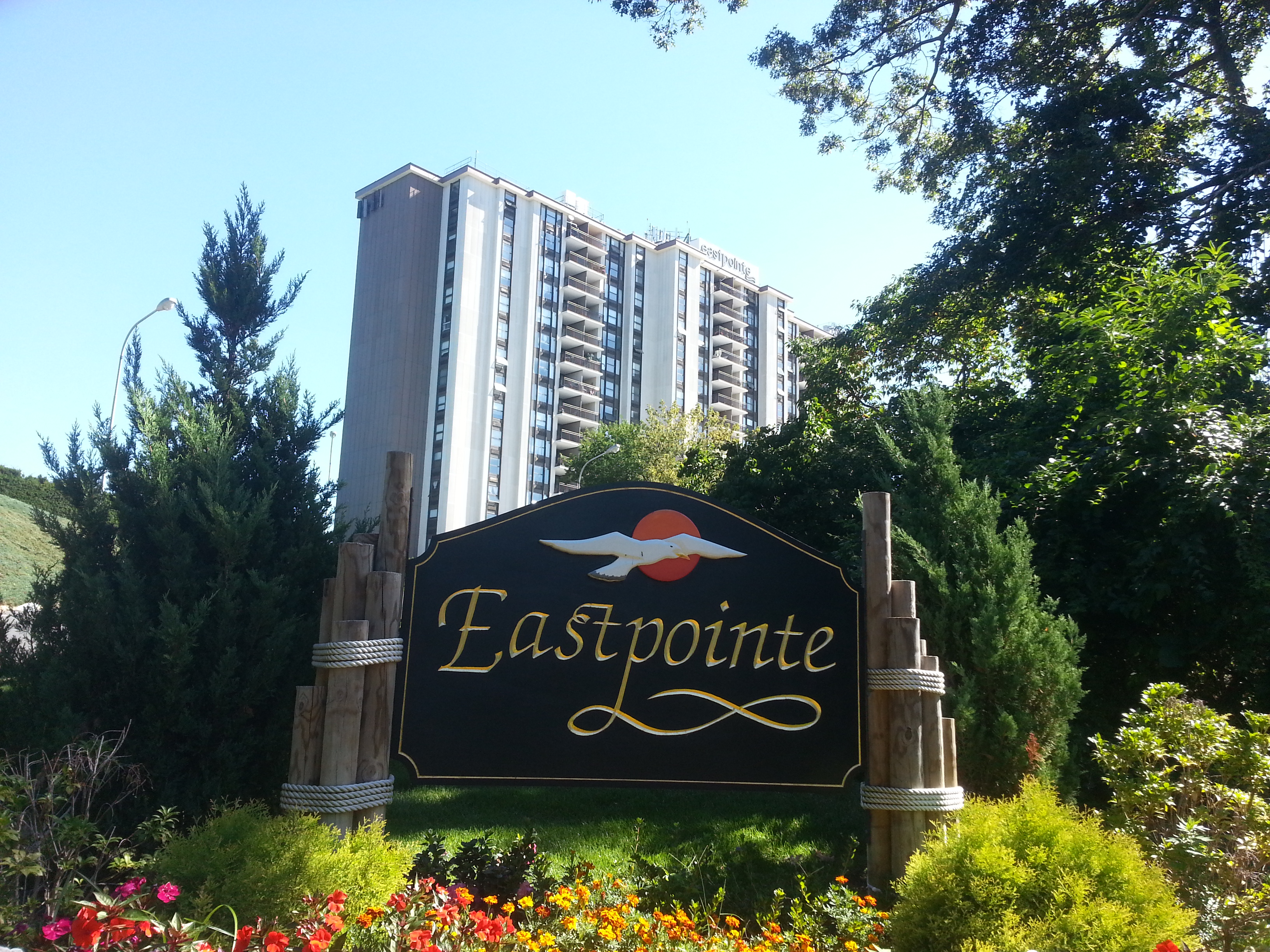 Eastpointe Condominium, located at 1 Scenic Dr., Highlands, NJ, overlooks Sandy Hook Bay and NYC..