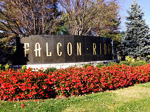 Entrance to Falcon Ridge subdivision in Lenexa, KS.