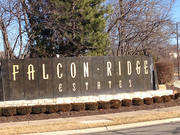 Entrance to Falcon Ridge Estates in Leawood, KS
