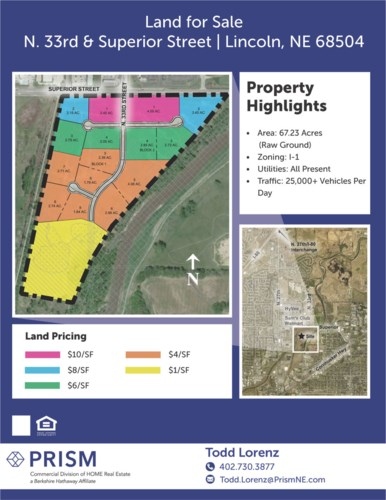 Excellent I-1 Zoned Property - N. 33rd & Superior St., Lincoln, NE 68504